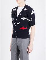 Thom Browne Shark-intarsia Knitted Cotton Cardigan