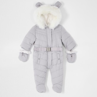 River Island Baby Grey padded snowsuit with ears