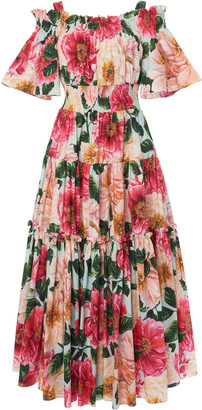 Dolce & Gabbana Tiered Camellia-Print Cotton Off-The-Shoulder Midi Dress