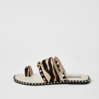 River Island Brown leather animal print toe loop sandals