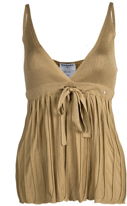 Chanel Mustard Brown Tie Detail Knit Camisole L