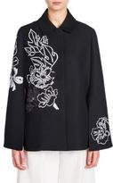 Fendi Sequin Embroidered Wool & Silk Cape Jacket