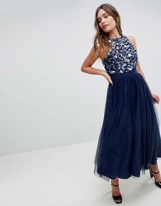 Asos Design ASOS Embellished Cluster Crop Top Tulle Midi Dress
