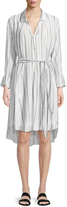 Halston Striped Long-Sleeve Shirtdress