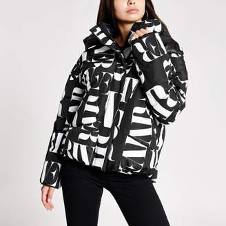 River Island Womens Black RI printed puffer jacket