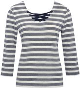 M&Co Striped lace up top