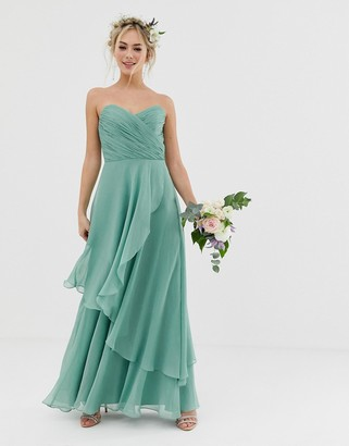 Asos Design DESIGN Bridesmaid bandeau maxi dress with soft layer skirt-Green
