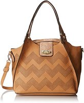 MG Collection Helena Perforated Chevron Snake Shoulder Bag
