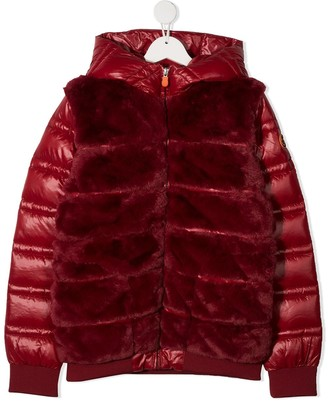 Save The Duck Kids TEEN faux fur panelled padded jacket