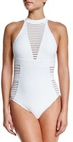 Jets Ribbed High-Neck One-Piece Swimsuit