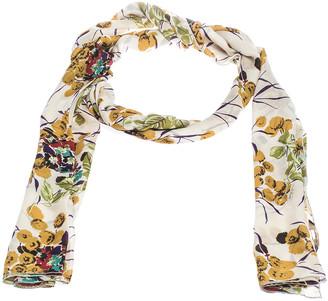 Roberto Cavalli Off White Shimmer Floral Print Silk Stole
