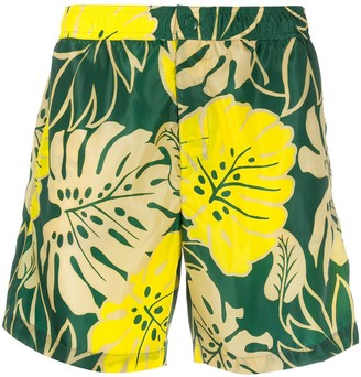 Moncler Palm Leaf-Print Swim Shorts