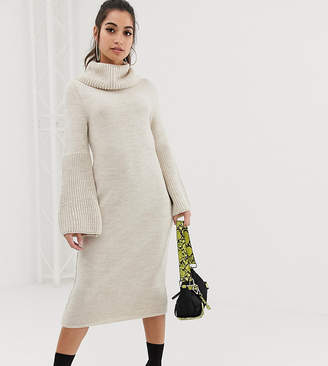 Asos DESIGN Petite flare sleeve pencil dress-Beige