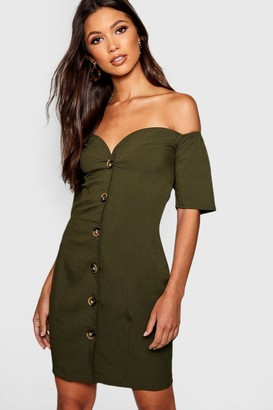 boohoo Sweetheart Mock Horn Button Front Mini Dress