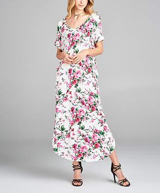 Love, Kuza Women's Maxi Dresses WHITE - White & Pink Floral Pocket Baseball-Hem Maxi Dress - Women