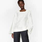 Paul Smith Women's White Cotton-Silk Bell Sleeve Top With Tie