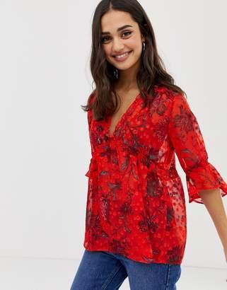 Only Celine sheer floral print blouse-Red