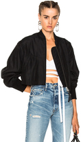 Alexander Wang Silk Cotton Cropped Bomber in Black.