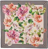 Dolce & Gabbana Pink Silk Twill Floral Scarf