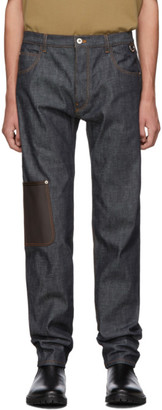Loewe Blue Leather Patch Pocket Jeans
