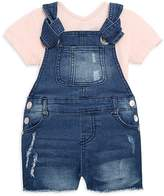 7 For All Mankind Little Girl's Two-Piece Solid V-Neck Top and Denim Overall Set