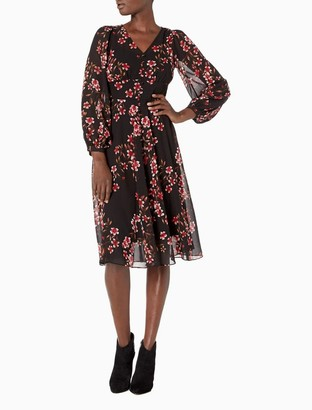 Calvin Klein Floral Chiffon V-Neck 3/4 Sleeve Fit + Flare Dress