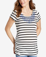 Jessica Simpson Maternity Embroidered Striped T-Shirt