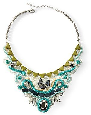 JCPenney Blue & Green Tonal Beaded Bib Necklace