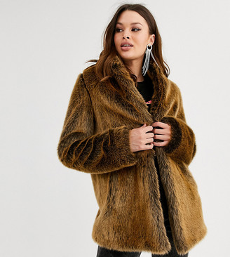 Asos DESIGN Tall stand collar faux fur coat in brown