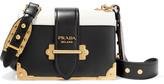 Prada Cahier Small Two-tone Leather Shoulder Bag - Black