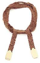 Assya Gold Vermeil and Burgundy Silk Weaved Wrap Bracelet of Length 63.5cm