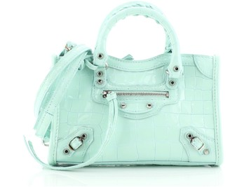 Balenciaga City Classic Studs Bag Crocodile Embossed Patent Nano
