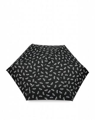 Moschino Mini Umbrella With All Over Logo Woman Black Size Single Size