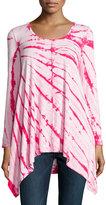 Neiman Marcus Tie-Dye Long-Sleeve Tunic, Pink