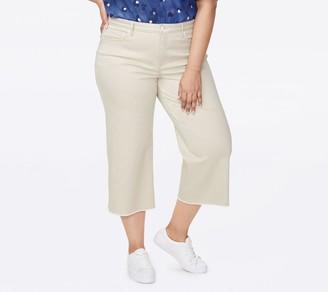 NYDJ Wide Leg Capri Fray Hem Jeans - Feather