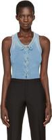 Balmain Blue Lace-up Bodysuit