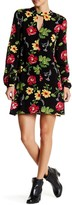 Romeo & Juliet Couture Floral Print Crinkle Long Sleeve Dress