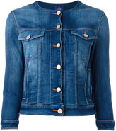 Jacob Cohen round neck denim jacket - women - Cotton/Polyester/Spandex/Elastane - S