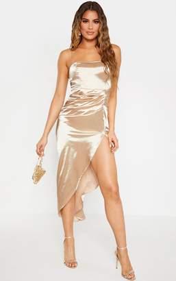 PrettyLittleThing Tall Champagne Ruched Side High Split Satin Midi Dress