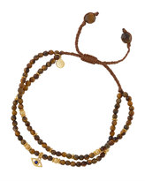Tai Tiger's Eye Beaded Bracelet w/ Evil Eye Charm, Brown