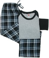 Hanes Mens Big & Tall Cotton Long Sleeve Shirt and Flannel Pajama Pants