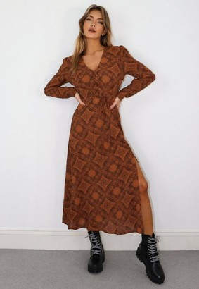 Missguided Petite Rust Paisley Half Button Midi Tea Dress