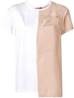 No.21 panelled asymmetric T-shirt