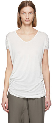 Rick Owens White Silk Hiked T-Shirt