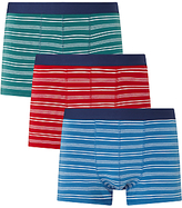 John Lewis Fine Stripe Trunks, Pack Of 3, Green/red/blue