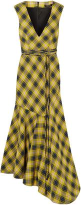 Derek Lam Asymmetric Checked Cotton And Wool-blend Dress