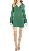 Blu Pepper Lattice V-Neck Embroidered Bell Sleeve Shift Dress