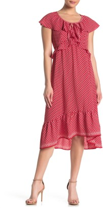 Max Studio Polka Dot Keyhole Ruffled Midi Dress