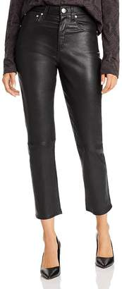 Rag & Bone Maya High-Rise Straight-Leg Leather Ankle Jeans in Black