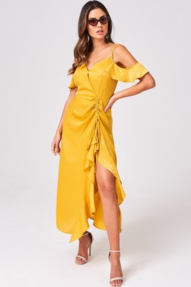Girls On Film Wonder Mustard Satin Cold-Shoulder Midi Dress